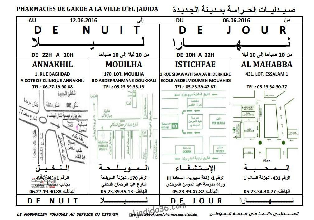 pharmacie de garde : صيدليات الحراسة بمدينة الجديدة من 06 إلى 12 يونيو