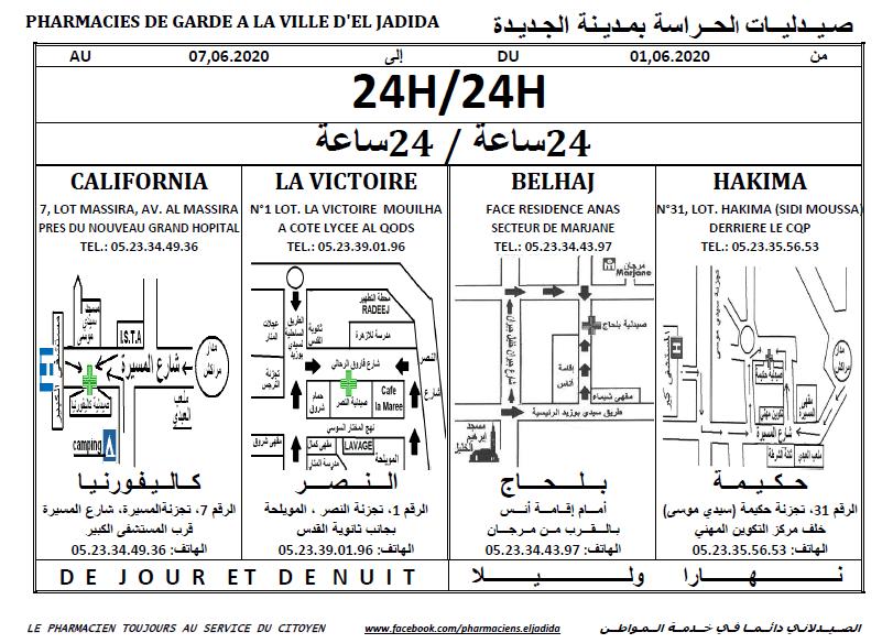 eljadida36.com -Eljadida 36 pharmacie de garde du 01 au 07 Juin 2020