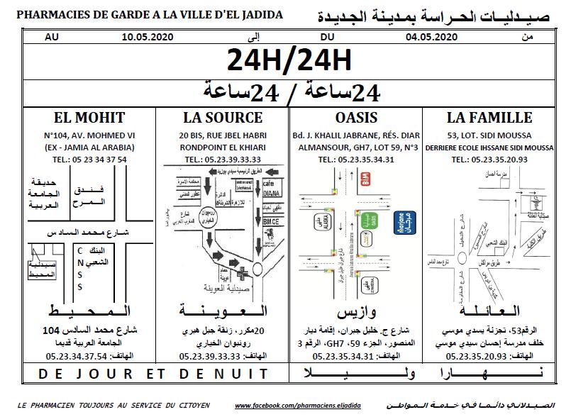 eljadida36.com -Eljadida 36 pharmacie de garde du 04 au 10 Mai 2020