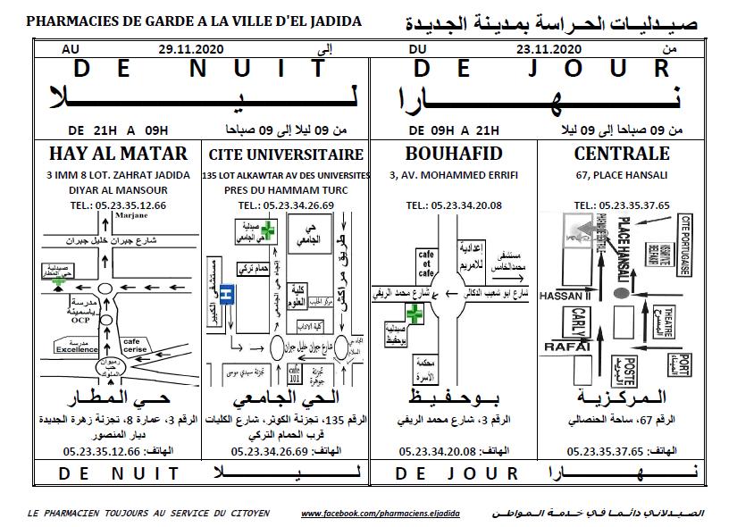 eljadida36.com -Eljadida 36 pharmacie de garde du 23 au 29 Novembre 2020