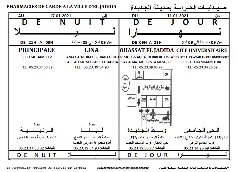 eljadida36.com -Eljadida 36 pharmacie de garde du 11 au 17 Janvier 2021