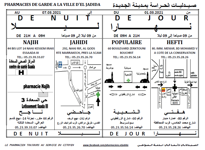 eljadida36.com -Eljadida 36 pharmacie de garde du 01 au 07 Mars 2021