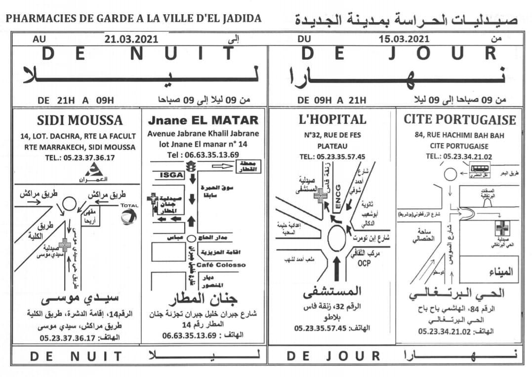 eljadida36.com -Eljadida 36 pharmacie de garde du 15 au 21 Mars 2021