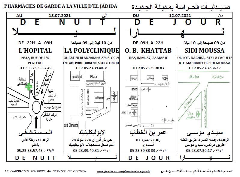 eljadida36.com -Eljadida 36 pharmacie de garde du 12 au 18 Juillet au 2021