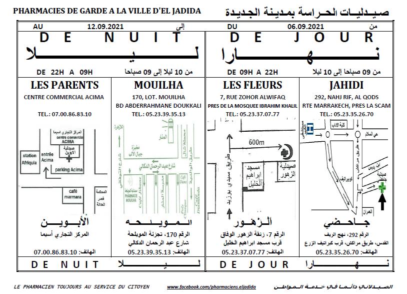 eljadida36.com -Eljadida 36 pharmacie de garde du 06 au 12 Septembre 2021